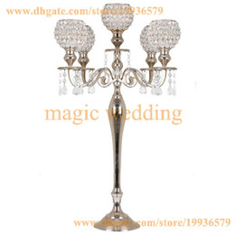 Wholesale Candle Holders Crystals - 5 arm wedding candelabra with hanging crystal beaded for wedding table centerpieces decortion