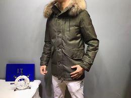 Wholesale Military Parka Fur Hood - M Brand Design Men Duck Down Jacket Thickening 100% Real Large Raccoon fur collar Hood Down Coat Military green Parkas
