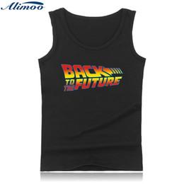 Wholesale Back Future Shirt - Wholesale- Alimoo Men's Tank High Quality Cotton Summer GymTop Back to the Future Printed Men Summer Stye Plus Size Vest Sleeveless Shirts