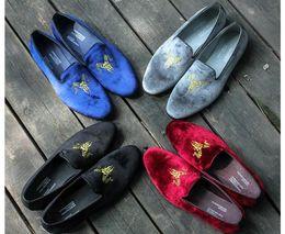 Wholesale Velvet Black Loafers - New Fashion Men Black Velvet Loafers Slippers Slip on Dress Shoes Leather Handmade British Wedding Shoes Casual Men's Flats