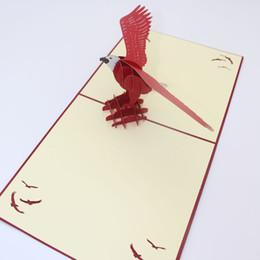 2019 шучу, визитные карточки Оптовая продажа-3D высокое качество ручной работы амбициозный летающий Орел бумаги приглашение поздравительные открытки с конвертом бизнес дети подарок на День Рождения скидка шучу, визитные карточки