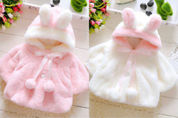 Wholesale Girls Fur Hooded Poncho - Fur Winter warm Baby Girl Coat Cloak Jacket Thick warm clothes for Child 6M-3Y