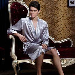 Wholesale Men Lingerie Robe - 0347 Gorgeous Silk Blend Men Sleepwear Sleep Shirts Robes Long Sleeve Gown Nightclothes Nightdress Nightgown Nighties Lingerie Underwear