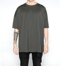 Wholesale Plain White T Shirts Man - 2017 new 4color basic tee fitness men hiphop clothes 2017 kpop streetwear usa kanye west plain oversized extended white t shirt