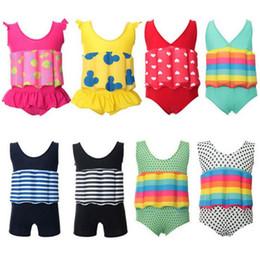 Wholesale Baby Swim Suits - Girl Buoyancy Swimwear Baby kids Swimming Trunks Shorts Float Swim Vest Safety Swim Cloth Buoyancy Swimsuit Float Suits KKA1906