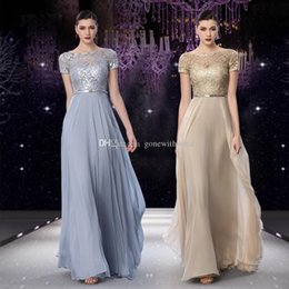 Wholesale Jacket Grey Sheath - short sleeves gold grey sequin lace evening dresses 2018 bateau neckline sweep train formal evening gowns