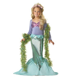 Wholesale costume performing stage - Girls Mermaid dress Children Kids Cosplay Dresses Costume Princess Wear Perform Clothes children's day Party dress Performance clothes A080