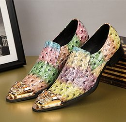 Wholesale korean oxford shoes - Handsome Colorful Korean Style Patent Leather Mens Oxfords Formal Business Men Wedding Shoes Party Men's Flats Plus Size 38-46