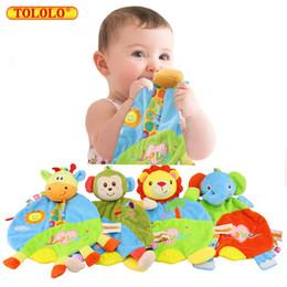 Wholesale Newborn Baby Handkerchief - Wholesale- Baby Toys 0-12 Month Infant Towels Handkerchief Playmate Soft Kawaii Stuffed Plush Animal Rattle Mobile Doll For Newborn Babies