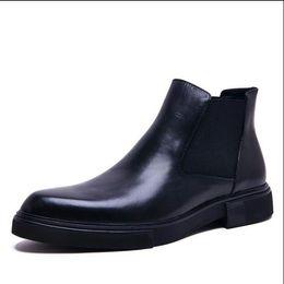Wholesale Charming Black Men Dress Shoes - mens dress boots sales genuine leather black slip on classic business office male ankle boots men shoe 2017