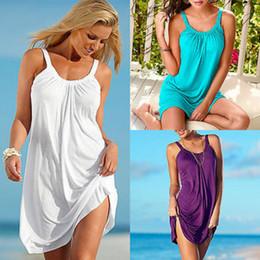 Wholesale Ladies Swimwear Dresses - Wholesale- New Women Ladies Sleeveless Beach Sundress Party Casual Sexy Mini Dress Swimwear