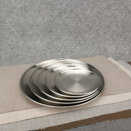 Wholesale Metal Dinner Plates Wholesale - 20cm Kroean Style Stainless Steel Dinnerware Dinner Dish Flat Plate Tableware Canteen Severing Tray ZA4493