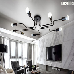 Wholesale Hall Led - Personality ceiling lamp light ceiling chandeliers led long iron chandelier,bedroom lamp living room decoration, lamp customization