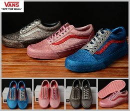 Wholesale Bling Shoes Girls - 2017 Opening Ceremony x Vans OG Old Skool LX Bling-Bling Glitter Pack Pink Skateboard Shoes Women Girls Casual Canvas Sport Sneakers 35-44