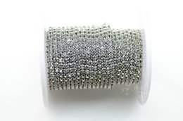 Wholesale Coloured Sew Rhinestones - SS8 8 Meter grey colour rhinestone close trim chain silver golden Sewing Accessories