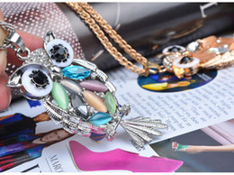 Wholesale Silver Blue Chokers - Neoglory Blue Austrian Crystals Owl Maxi Boho Long Chokers Necklaces & Pendants for Women Mother Girl Gifts Fashion Jewelry 2017