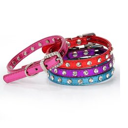 Wholesale Diamante Rhinestone Dog Collars - Clear Rhinestones Diamante Buckle Soft Glossy PU Leather Dog Puppy Cat Collars 2 Sizes 4 Colors WA1876