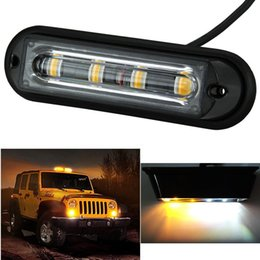 Wholesale Led Caution Light Bar - 4-LED White & Amber Waterproof Emergency Beacon Flash Caution Strobe Light Bar 16 Different Flashing for Car SUV Pickup Truck Van