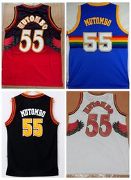 Wholesale Shirts Basketball - High Quality 55 Dikembe Mutombo Jerseys Throwback Retro Black White Red Blue Dikembe Mutombo Basketball Jersey Mesh Stitched Shirts