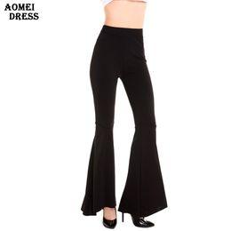 Wholesale Elegant High Waist Trousers - Women Spring Summer Fashion Black Pants Leggings Ladies Elegant Bottom Wide Ruffles High Waist Trousers S M L XL 2XL Full Length