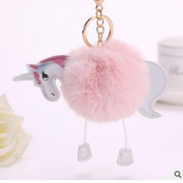 Wholesale Rabbit Fur Pieces - One-horned rabbit fur Ball Keychain hanging pieces of a cartoon PU leather keys accessories ladies' ball keychain Accessories