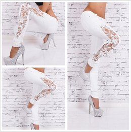 Wholesale Long Coat Trousers - European Wind Woman Solid Color Fashion Lace Suit-dress Cowboy Trousers Hole Jeans For Women