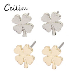 Wholesale Korean Clover Earrings - 2017 fashion new minimalist four leaf clover silver rose gold earrings for women cute korean stud earrings cheap gold plated jewelry