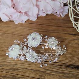 Wholesale Blue Jade Band - New Vintage Wedding Bridal Crystal Rhinestone Beaded Silk Flower Hair Accessories Headband Band Crown Tiara Clip Silver Headpiece