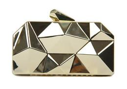 Wholesale gold metallic clutch bag - New Fashion Women Handbags Metal Rhombus Shinning Metal Shoulder Bags Ladies Gold Silver Day Clutch Evening Bags