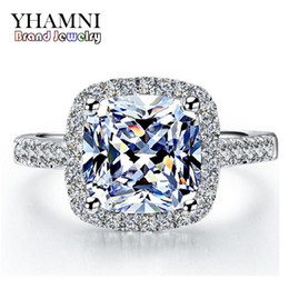 Wholesale real rings - YHAMNI Real 100% 925 Sterling Silver Rings Wholesale Inlay 3 Carat SONA Simulation CZ Wedding Rings For Women RH002