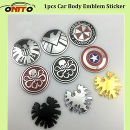Wholesale Carbon Fiber Umbrellas - Hot 1pcs 3D Metal label body Emblem boot Sticker Trunk Logo Decoration badge Captain America umbrella shield car stickers