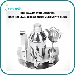 Wholesale Stainless Steel Cocktail Shaker Set - 7pcs Set 500ml Home Kitchen Bar Cocktail Maker Stainless Steel Shaker Jigger Ice Strainer Clip Wine Tool
