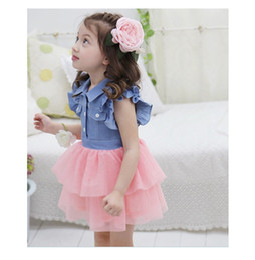 Wholesale Bohemian Denim Skirts - Summer Girl Dresses Baby Girl TUTU Dress Girls Denim Dress Flower Princess Skirt Kids Clothing Baby Girl Cute Dress