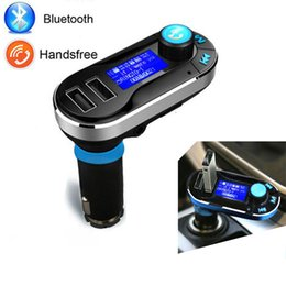 Wholesale Sd Card Mp3 Kit - Bluetooth Car FM transmitter MP3 Player Handsfree Car Kit AUX Hands Free kit with Dual USB MP3 SD LCD Car Charger Cigarette Light