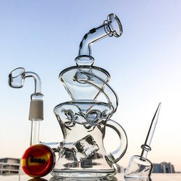 Wholesale Cube Cap - Half Fab Egg Shape Oil Dab Rig Swiss Perc Glass Bong Recycler Water Pipes Cube perc With Quartz Banger Quartz Cap DHL DGC12872