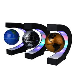 Wholesale World Antigravity - C Shape LED World Map Floating Globe Tellurion Magnetic Levitation Light Antigravity magic novel light Home Decor