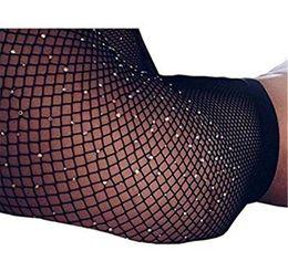 Wholesale Wholesale Fishnet Tights - 2017 Sexy Rhinestone Mesh Fishnet Pantyhose Spring Summer Black women tights Slim Fishnet Tights Stockings Party Club Hosiery 20170714