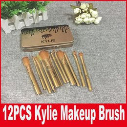 Wholesale Professional Christmas Gifts - Kylie Makeup Brush 12 pieces Professional Makeup Brush set Kit +Iron box DHL Free shipping For Christmas Gift