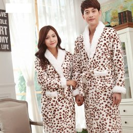 Wholesale Men Leopard Sleepwear - Wholesale- Lovers Bathrobes Couple Sleepwear Leopard Warm Nightwear Cows Female Flannel Nightgown Women Long Sleeve Kimono Man Bath Robe