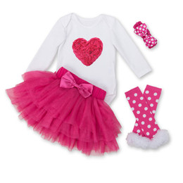 Wholesale Skirt Legging Girl Suit - Baby Girls Lace Rompers Sets 2017 New Hot Newbown Jumpsuits+Tulle Tutu Saia Skirt+Headbands+Legs 4pcs Suits 0-2Y Infant Children Clothing