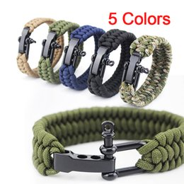 Wholesale Hot Men Roped - Hot Handmade Pulseras Outdoor Camping Rescue Paracord Bracelets Parachute Cord Men Emergency Rope Black Survival Stainless Buckles