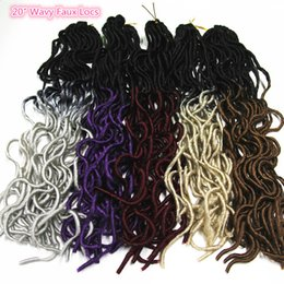 Wholesale Wavy Ombre Weave - Wavy Dreadlocks Crochet Hair Extensions Synthetic Freetress 2Tone Ombre Faux Locs Braiding Hair Havana Mambo Kanekalon Braids Hair Weaving