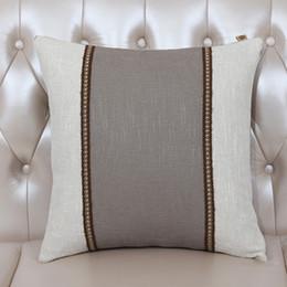 paño trona Rebajas Classic High End Patchwork Funda de cojín Sofá Silla de asiento Lumbar Almohada Europa American Style Algodón de lino Funda de cojín trasero de tela