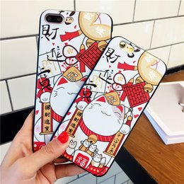 Wholesale Hand Paint Iphone Case - Creative new fortune cat for Apple iphone 6 6s 6puls 7 7puls cases mobile phone cases painted embossed hand case soft grinding sand