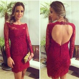 Wholesale Sale Women Winter Wears - Hot Sale Red Lace Cocktail Dresses 2016 Scoop Neck Backless Long Sleeve Straight Formal Women Cocktail Party Dress