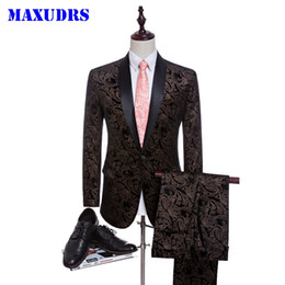 Wholesale Two Buttons Man Blazer - 2017 Velvet Man Suits Custom Made Groom Tuxedos Fashion Groomsman Suit Slim Homecoming Suit Wedding Suit Blazer (Jacket+pants)