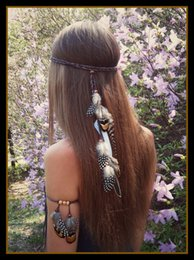 Wholesale Wholesale Gray Weaving Hair - 2017 new high-quality fashion feather hair band, tourist attractions, Bohemian weaving hair accessories wholesale