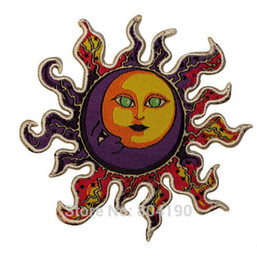 "Wholesale Grateful Dead Patches - 3.5"" Dan Morris Sun Moon Grateful Dead Logo Music Band Embroidered IRON ON Patch Rock Punk Metal free shipping"