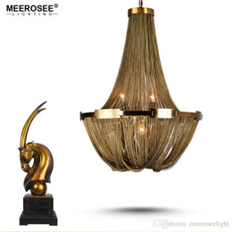 Wholesale Empire Lamps - New Arrival Aluminum Chain Chandelier French Empire Bronze Color Post Chain Illumination Hanging Lamp for Living room Hotel Cafe