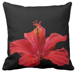 Wholesale Throw Pillow Cases Sofa Flowers - Throw Pillow Case, Hibiscus Flower Photo Red Black Floral Background Square White Sofa and Car Cushions Cover (16inch,18inch,20inch)